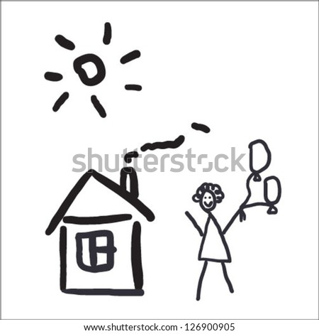 house and girl with balloon in kids drawing style - stock vector