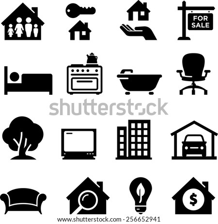 House and home icons. Vector icons for digital and print projects. - stock vector