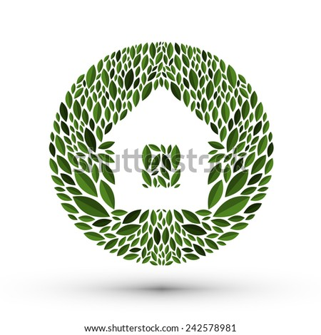 House and nature. Logo, icon, emblem, template - stock vector