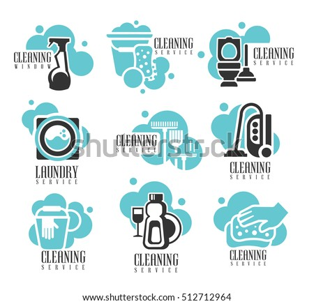 House Office Cleaning Service Hire Labels Stock Vector