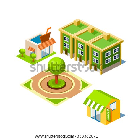 House and Park building icon infographic elements - stock vector