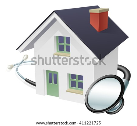 House and stethoscope concept of a house with a stethoscope wrapped around it - stock vector