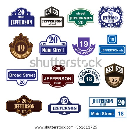 House and street numbers boards sign isolated. Street and house numbers vector symbols. Street numbers vector illustration.Street sign isolated vector. House number icon shape isolated. Street numbers - stock vector
