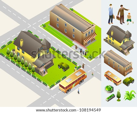 house and transportation isometric.  very detail isometric vector - stock vector