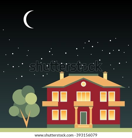 House and tree at night on background of dark sky with stars and moon. Vector illustration.  - stock vector