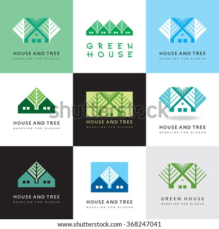 House and tree - elegant vector icons. Set of illustrations. - stock vector
