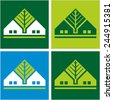 House and tree. Icons, symbol of a small home with a windows. Vector colored image for logo design.  - stock vector