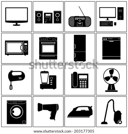 House Appliance Icons Set - stock vector