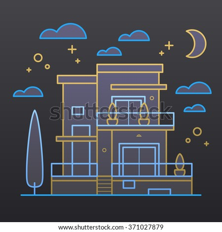 House at night. Vector icon illustration