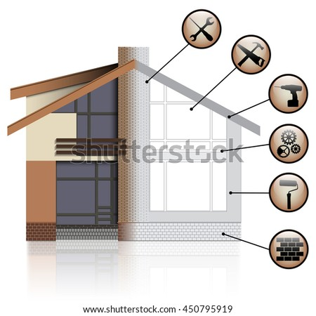 House Before and After Repair. Vector Illustration - stock vector