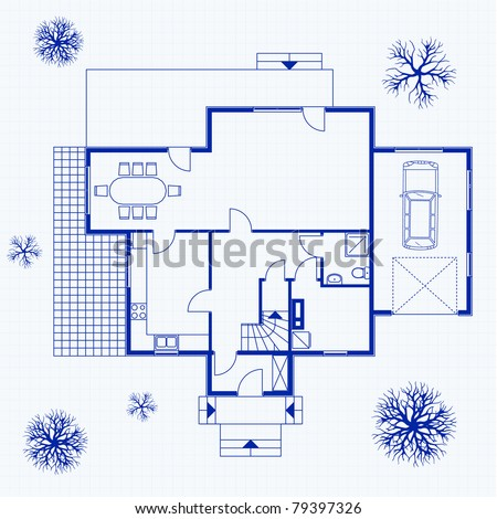 house blueprint with exterior and interior. vector illustration - stock vector