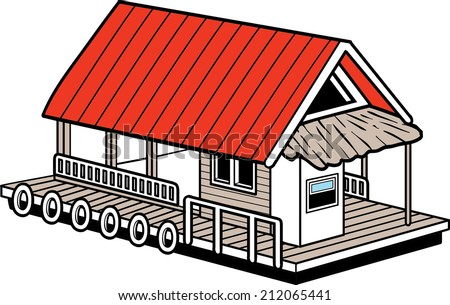 house Boat - stock vector