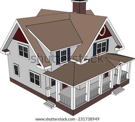 house building construction  - stock vector