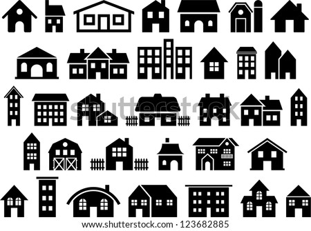 House & Building icons - stock vector