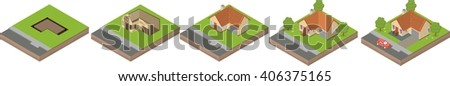 House building process. Isometric illustration of house construction. Five stages. - stock vector