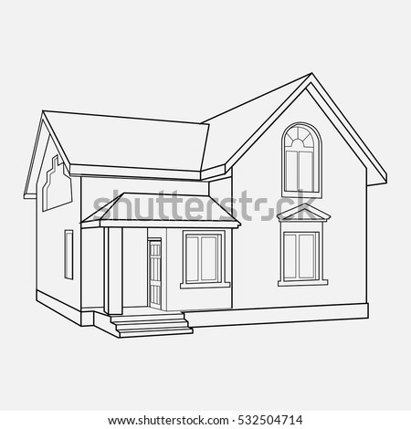 House Building Sketch Prospect Building Drawings Stock