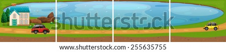 house by the pond - stock vector