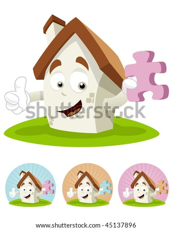 House cartoon character  illustration holding a piece of puzzle - stock vector