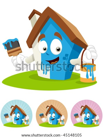 House cartoon character  illustration holding brush and paint bucket, DIY painting - stock vector
