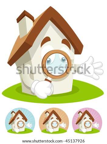 House cartoon character  illustration holding magnifying glass - stock vector