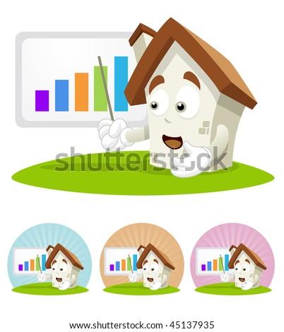 House cartoon character  illustration showing a progressive bar chart. - stock vector