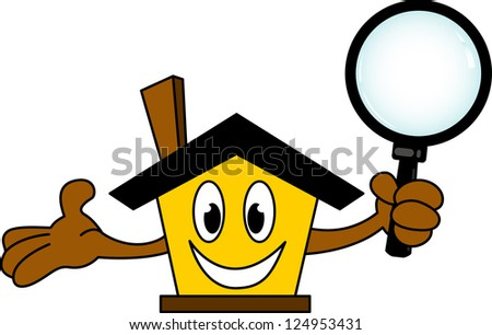 house cartoon holding magnifying glass - stock vector