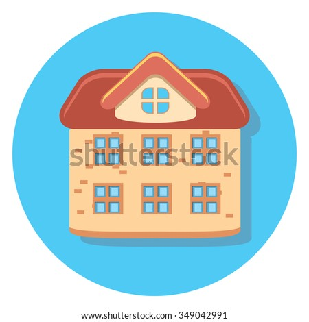 house circle icon with shadow - stock vector