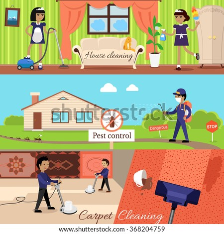 House cleaning and pest control and cleaning carpet, housework and cleaner service, domestic cleaning work, housekeeping wash and cleaning, washing and housecleaning, disinfectant pests illustration - stock vector