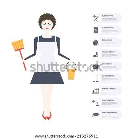 Modern housekeeping infographic modern flat apartment for Modern cleaning concept