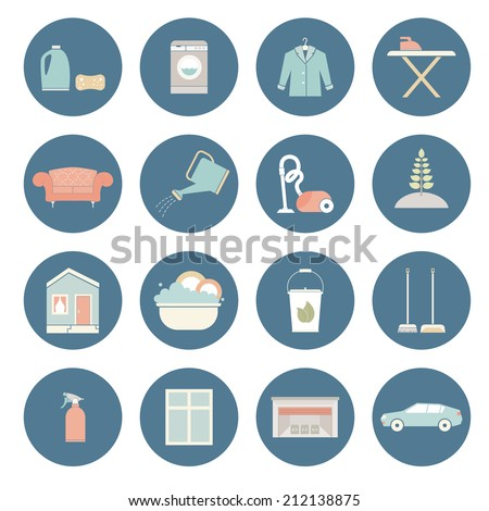 House cleaning vector - ironing, dish wash, vacuum cleaning, plant care, furniture dry-clean, window treatment.  - stock vector