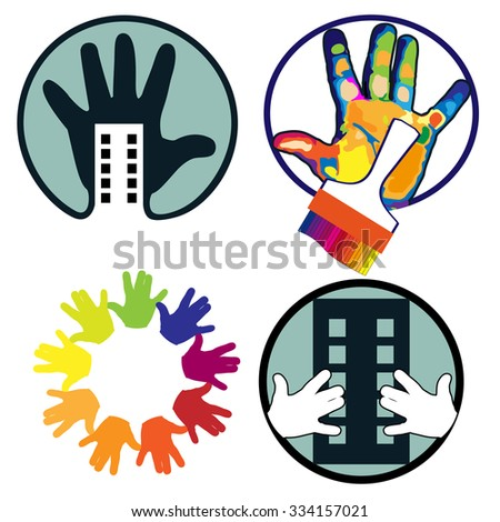 House, construction, hand, brush, icons set on white background