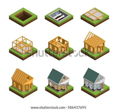 House construction phases isometric icons set isolated vector illustration