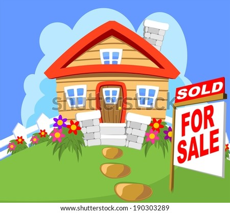 House Cottage for sale with a sold sign - stock vector