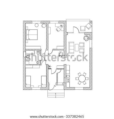 Blueprint floor plan modern apartment vector vectores en stock house design black and white floor plan of a modern apartment vector illustration malvernweather Image collections