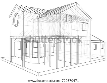 Beautiful House Drawing In Vector. The Contours Of The House. Vector Created Of 3d.