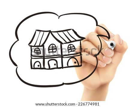 house drawn by 3d hand over white background - stock vector