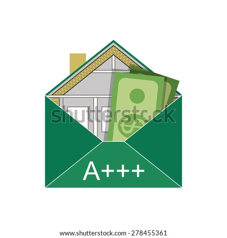 House Eco Green Building Envelope Energy Efficiency Weatherization Construction standards home insulation Thermal  Environmentally friendly Save money Dollar  energy class A +++ Symbolic logo vector - stock vector