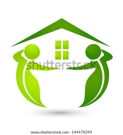 House ecological with leafs figures vector illustration - stock vector