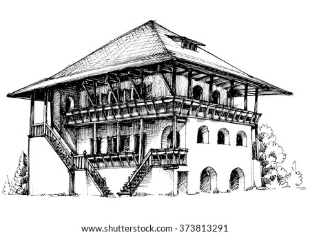Building stock vector 37608541 shutterstock for Exterior house drawing
