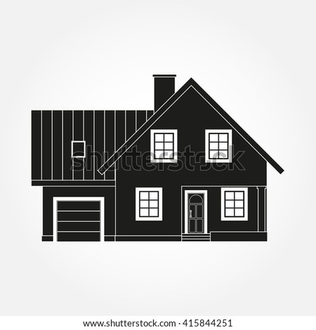 House exterior silhouette. Vector illustration of home icon. - stock vector