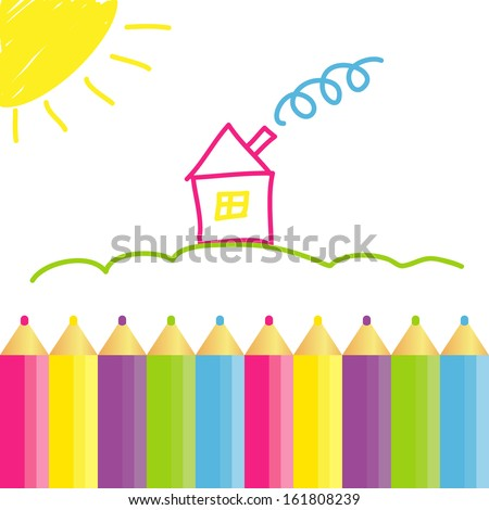 house figure  hands drawn chidren with pencils - stock vector
