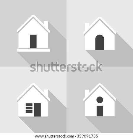 House flat icon set on grey background.