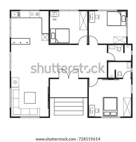 House Floor Plan 3 Bedroom 2 Stock Vector Shutterstock