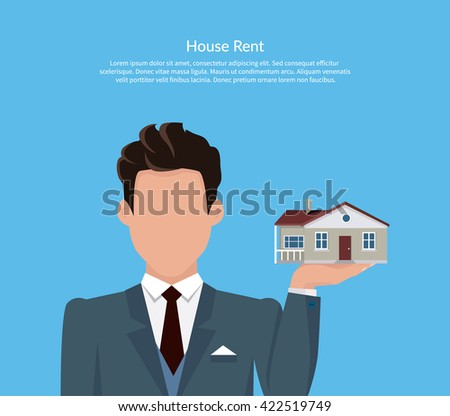 House for rent. Flat rent price design. Price and business, estate house, rental home building, property residential, deal and money, apartment search. Broker keeps house on palm. Vector illustration. - stock vector