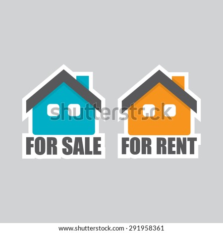 House For Sale and For Rent - stock vector