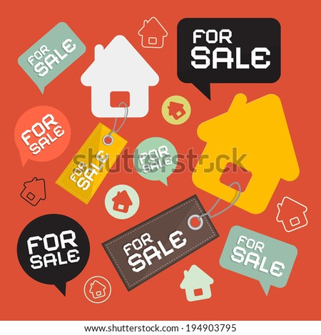 House For Sale Retro Paper Icons Set - stock vector