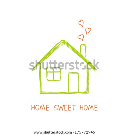 House full of love in doodle style - stock vector