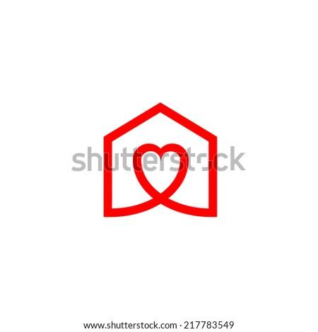House Heart - stock vector