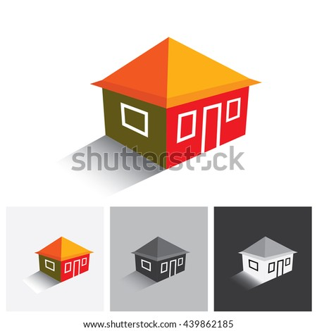 House ( home ) or hut vector logo icon for real estate. This represents buying & selling property, residential accommodations, travel & tourism, camping, hiking & adventure - stock vector