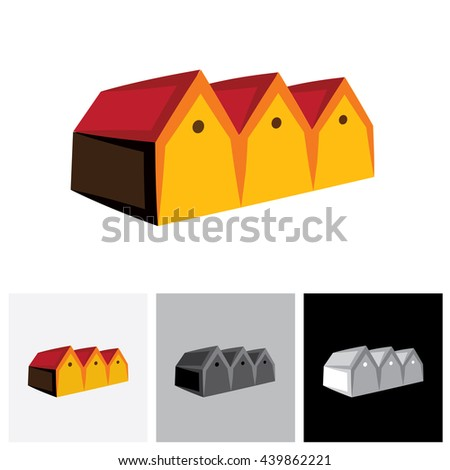 House ( home ) or store ( shed ) vector logo icon for real estate. The represents buying & selling storehouse and residential property, storage office space, etc - stock vector